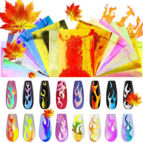 Flame Reflections Nail Stickers - 16PCS New Trend Halloween Holographic Fire Flame Nail Art Decals, DIY Nail Foils Tape Adhesive Decoration By DRMODE