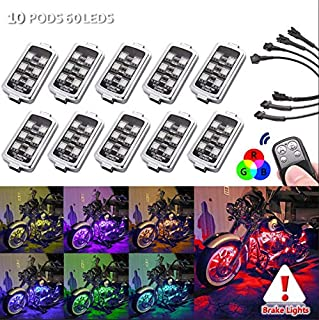 10 PODS Motorcycle LED Accent Underglow Neon Light - Motorbike Colorful Ground Effect Atmosphere Lights with Remote Control for Harley Honda Kawasaki Suzuki Ducati Polaris KTM BMW (10 PODs-60 LEDs)