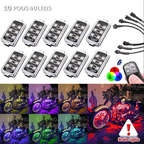 10 PODS Motorcycle LED Accent Un...