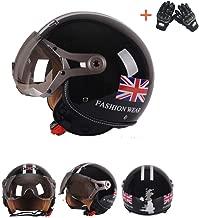 Anonca Vintage II Retro Open Face Jet Motorcycle Custom Helmet Cafe Racer Moto Cruiser Half Helmet Windproof Sandproof Four Seasons DOT Approval,L