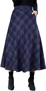 Women's High Waist Woolen Swing Skirt Thicken Winter Warm Plaid Aline Retro Long Skirts