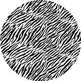 Alfombra de Vinilo Animal Print Cebra Forma Redonda 100 cm Alfombra Juvenil Estampada Dormitorio Escritorio Salón Pasillo y Cocina - Alfombra PVC Lavable Antideslizante