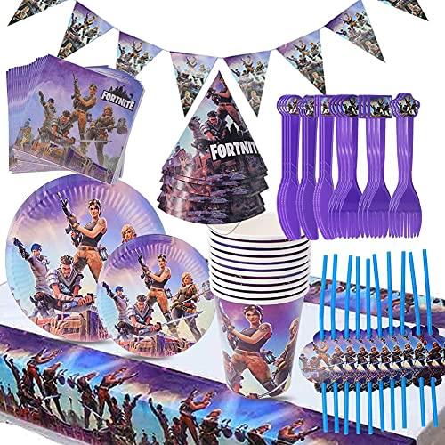 Babioms Game Party Supplies, Diseño de vajilla para fiestas incluye pancartas, platos, tazas, servilletas, gorro, cuchara, tenedores y cuchillos Suministros para fiestas de videojuegos(88pcs)