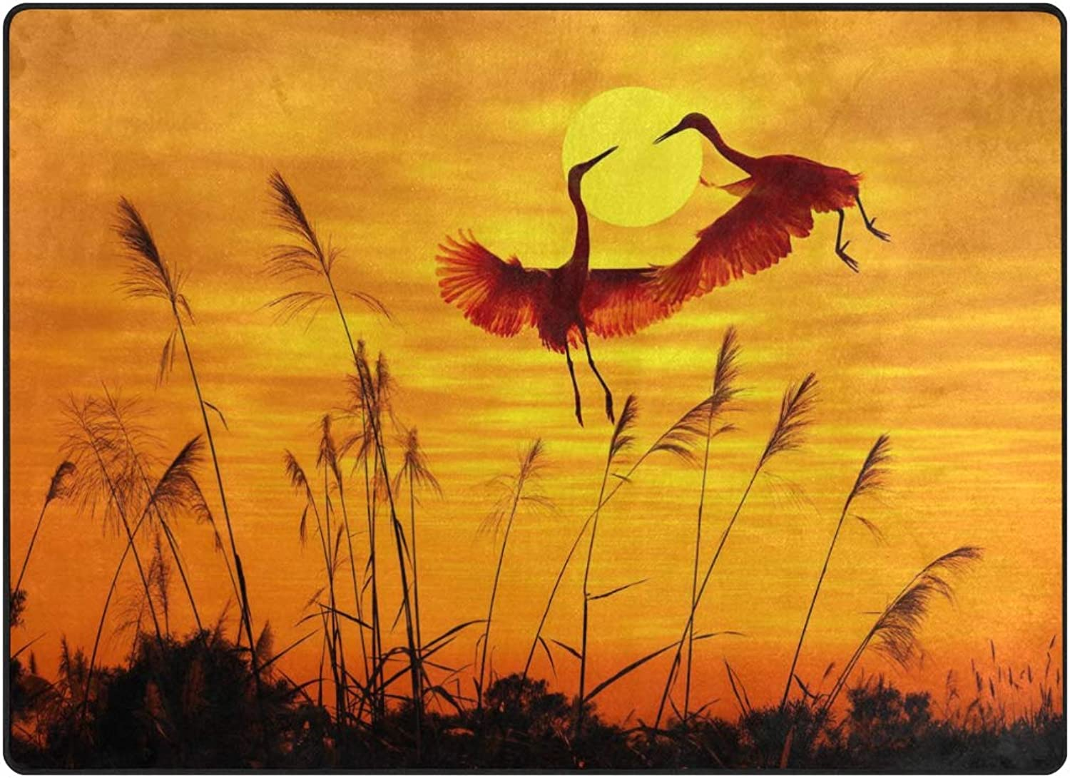 FAJRO Flying Crane Couple Sunset Pattern Rugs for entryway Doormat Area Rug Multipattern Door Mat shoes Scraper Home Dec Anti-Slip Indoor Outdoor