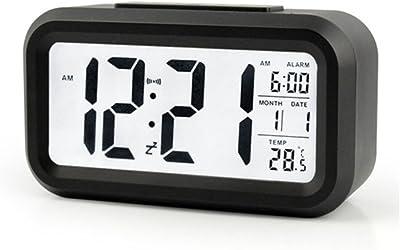 Mikuyou Despertador Digital, LCD Pantalla Reloj Alarma Inteligente Simple y con Pantalla de Fecha y