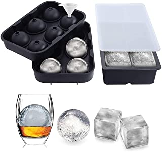 Qniceone Ice Cube Trays Ice Ball Maker (Set of 2), Silicone Sphere & Square Flexible Ice Cube Molds for Cocktails, Whiske...