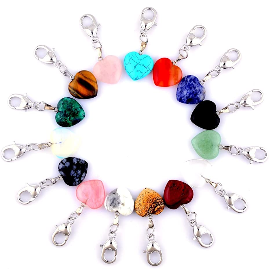Heart Stone Charm Pendant Keychain Healing Pointed Chakra Crystal Quartz Stone Pendant with Heart Lobster Clasps DIY for Car Key 15pcs Necklace Jewelry Making