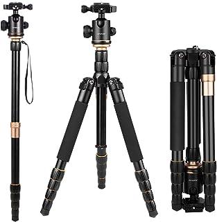 Andoer Q666 Trípode Completo Trípode Reflex Portátil 156cm para DSLR Cámara Canon Sony Nikon Trípode 2-en-1 Monopod Photocamera Aleación de Aluminio con Cabeza de 360° Bola Bolsa de Transporte