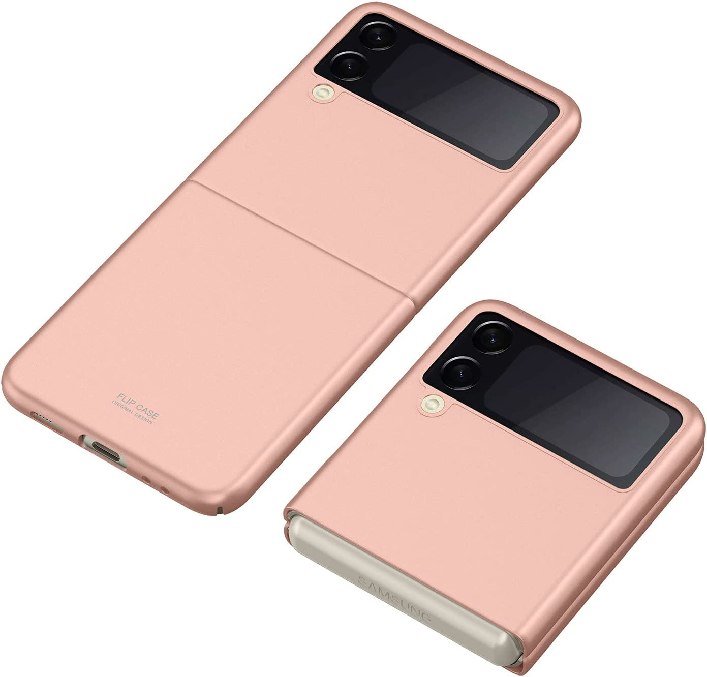DAMONDY for Samsung Z Flip 3 5G Case, Galaxy Z Flip 3 Case,Ultra Thin Hard Plastic Full Protective Cover with Matte Finish Compatible with Samsung Galaxy Z Flip 3 5G 2021 -Rose Gold