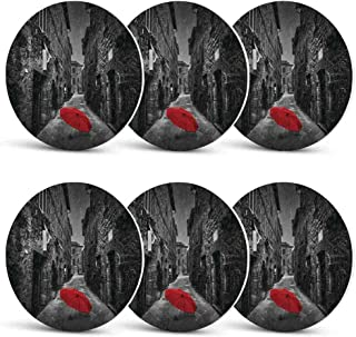 Black and White Unique Coasters,Red Umbrella on a Dark Narrow Street in Tuscany Italy Rainy Winter Decorative for Coffee Shop & BarSet of 6