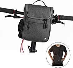 Kisshome Bike Handlebar Bags,Large Capacity Cycling Handlebar Storage Basket Bag Bike Front Bag with Rain Cover and Shoulder Strap