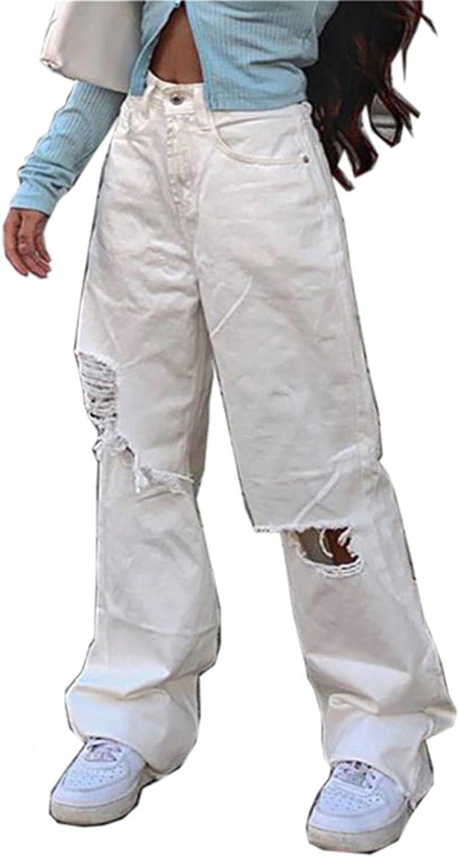 Lingbing Y2K Fashion Jeans, Women Button High Waist Pocket Elastic Hole Jeans Trouser Slim Casual Denim Pants Streetwear