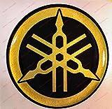 Emblema adhesivo resinado efecto 3D negro dorado para depósito o casco