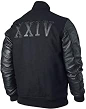 Kobe Destroyer XXIV Michael B Jordan Adonis Creed Battle Varsity Black Real Sheepskin Leather Sleeves Jacket