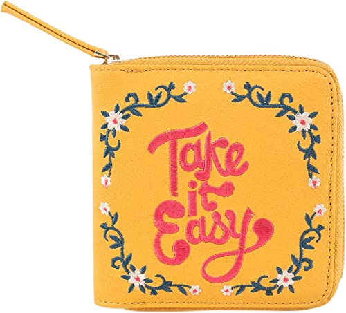 Take It Easy Embroidered Yellow Mini Wallet for Women