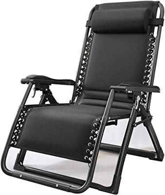Padded Zero Gravity Lounge Heavy Duty Adjustable Patio Recliner Chair with Headrest Cup Holder Support 115kg