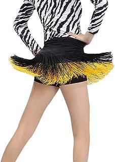 Hankyky Women's Double Tassel Latin Dance Skirt Ballroom Tango Swing Rumba Chacha Dancing Costume