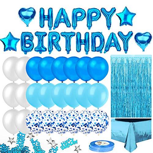 iZoeL Geburtstagsdeko Blau Happy Birthday Girlande 24 Konfetti Ballons Tischdecke Glitzer Vorhang Konfetti Herz Stern Folienballon