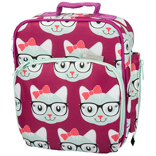 Bentology Lunch Box for Kids - Girls and Boys Insulated Lunchbox Bag Tote - Fits Bento Boxes - Kitty