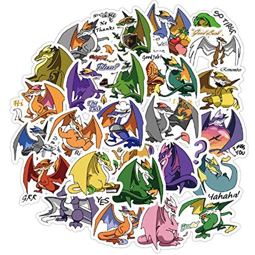 BLOUR 40 Stück/Set Super süße Dinosaurier-Aufkleber Cartoon Kawaii Dragon-Aufkleber für Laptop-Telefon Reisetasche wasserdichte Aufkleber