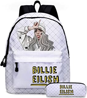 Billie Eilish Bolsillo con cordón de Dos Piezas Mochila Escolar para Estudiantes Mochila Estuche para lápices Bolsa de Viaje