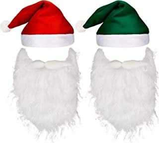 Pangda 4 Pieces Christmas Holiday Set Includes 2 Pieces Santa Beards, 2 Pieces Christmas Hats for Christmas Holiday Party Red, Green