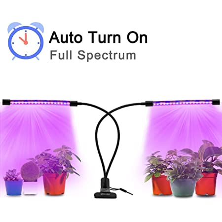Plant Grow Light with Auto Turn On/Off Function, slitinto 18W LED Grow Lamp Bulbs Full Spectrum, Adjustable Gooseneck Plant Lights with Red/Blue Spectrum Switching, Professional for Indoor Plants