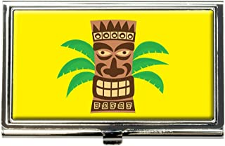 Tropical Tiki Head Business Credit Card Holder Case