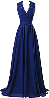 Lace Bridesmaid Dresses Long V-Neck Chiffon Evening Prom Gowns Open Back for Women 2019