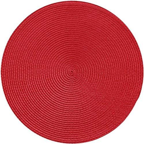 MZXUN INS Ronda Tejida PP Individuales Impermeable Mesa de Comedor alfombras Antideslizantes Vajilla Tazón de ratón Beba Suministros Taza del Partido de Cocina Posavasos (Color : Red, Size : Round)