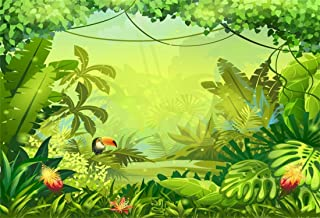 Yeele 10x7ft Tropical Photography Background Palm Leaves Forest Jungle Bird Anime Comic Painting Summer Party Photo Backdrops Portrait Shooting Studio Props