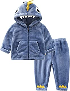 Niños Niñas Franela Conjunto de Pijamas Manga Larga Chaqueta con Capucha y Pantalones Trajes de 2 Piezas