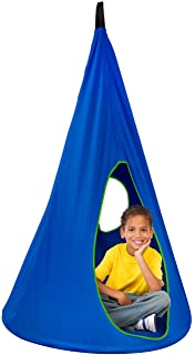 Sorbus Kids Nest Swing Chair Nook – Hanging Seat Hammock for Indoor Outdoor Use – Great for Children, (33 Inch, Nest Blue)