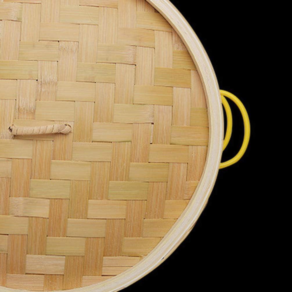 Vaporizador de 18 Cm + Cabilock 2 Piezas de Vaporizadores de Bamb/ú Asas Laterales Cesta de Vapor Chino para Cocinar Al Vapor Bollos de Alb/óndigas Dim Sum Verduras Carne Pescado Arroz