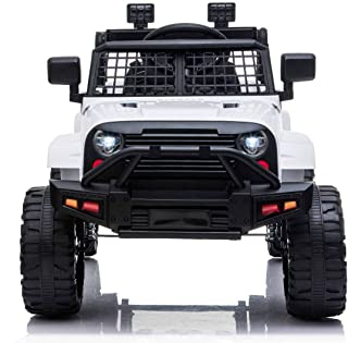 OFFROAD elektrische kinderauto met achterwielaandrijving, wit, 12V accu, hoog chassis, brede zitting, geveerde assen, 2,4 ...