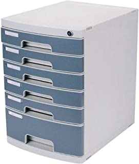 XHMCDZ Drawer Organizers Office Cabinets, Racks & Shelves Home Office Cabinets 6 Layers with Lock Desktop Storage Hard Pla...