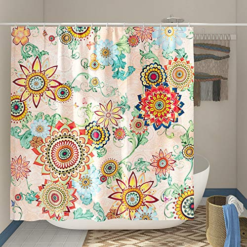 DESIHOM Boho Floral Shower Curtain Colorful Bohemian Shower Curtain Multicolor Spring Shower Curtain Polyester Waterproof Shower Curtain 72x72 Inch