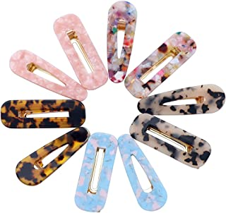 10 Pcs Acrylic Resin Hair Barrettes Fashion Geometric Alligator Hair Clips for Women and Ladies Hair Accessories
