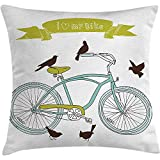 Fodera per cuscino per cuscino per bicicletta, I Love My Bike Concept con uccelli sul sedile Incrociatore Veicolo di base Arte semplicistica, federa, verde blu, 45X45 cm