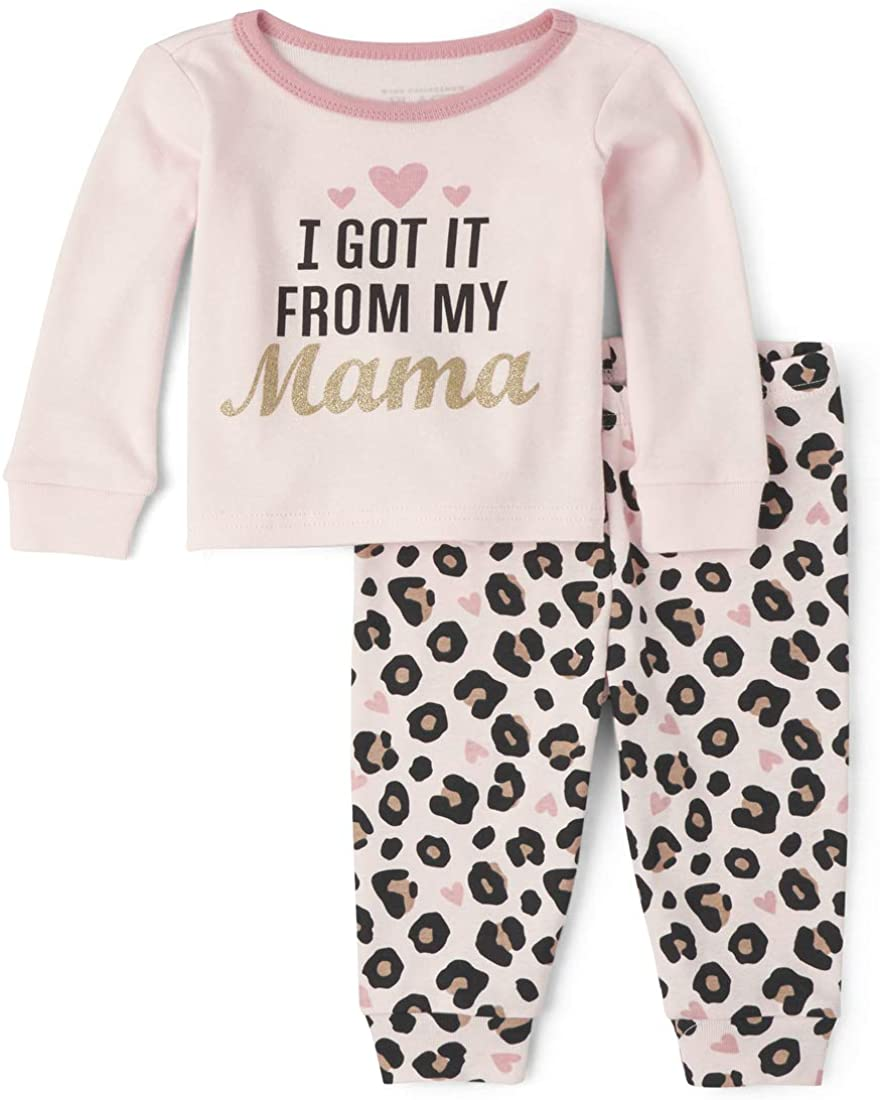 The Children's Place Girls' Baby and Toddler Leopard Mama Snug Fit Cotton Pajamas