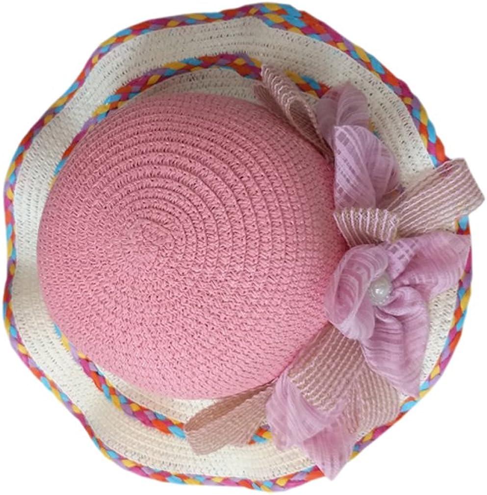 ACVIP Little Girls Straw Lovely Flower Bowknot Style Bucket Sand Beach Hat