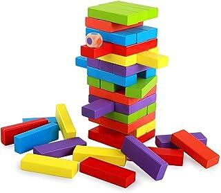 ملون أبطال برج اللبنات، مجموعة كتل الرصيد الخشبي كتل مجموعة، موازنة ألعاب اللغز، للعب داخلي وخارجي للبالغين والأطفال والفت...