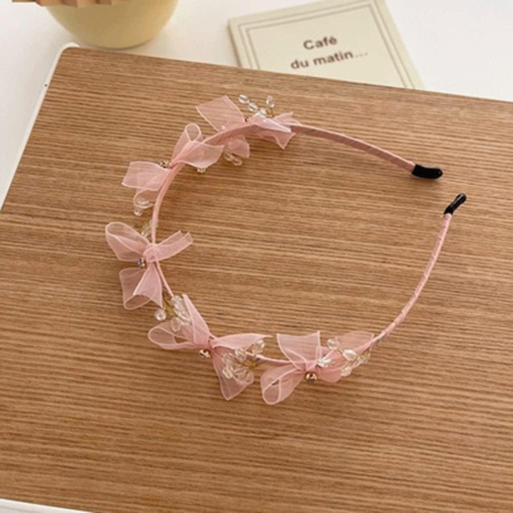Crystal Mesh Bow Hair Band Super Fairy Sweet Headband Hairpin Hair Accessories (Color : B)