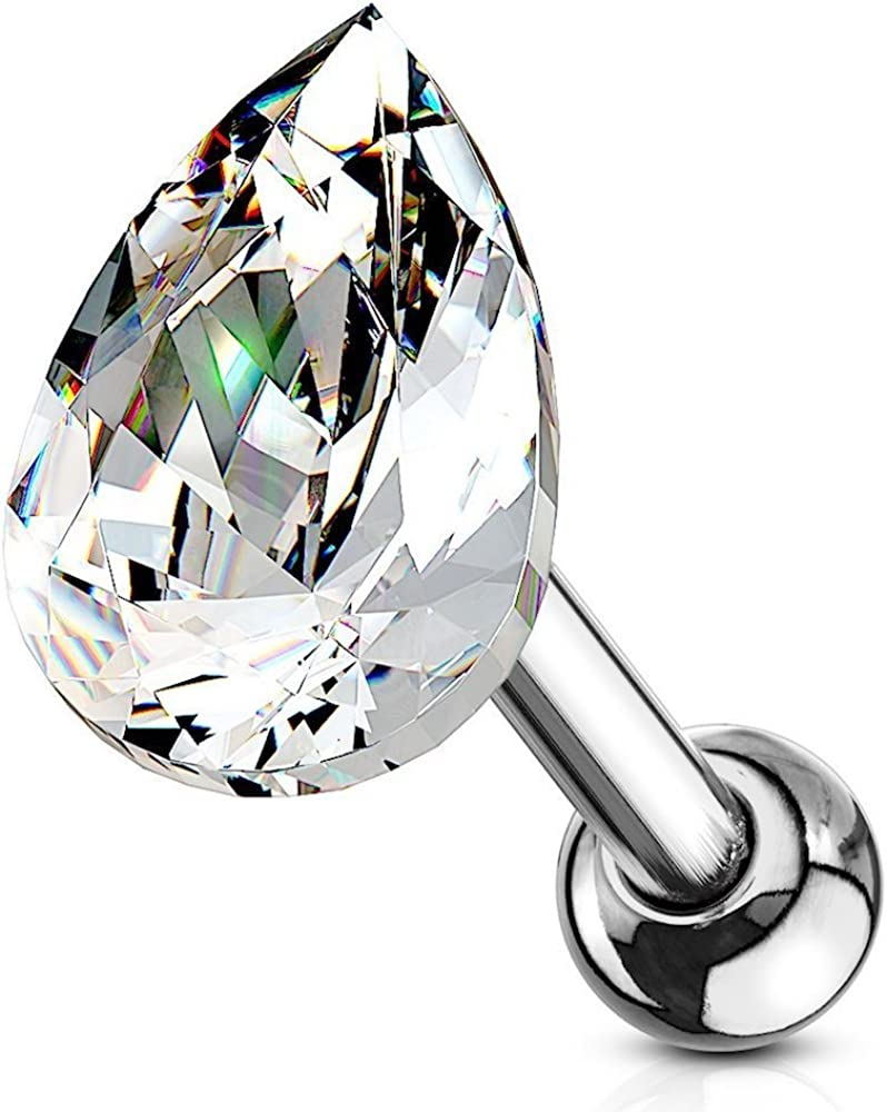 Covet Jewelry Tear Drop Crystal Top 316L Surgical Steel Cartilage, Tragus Barbell Stud