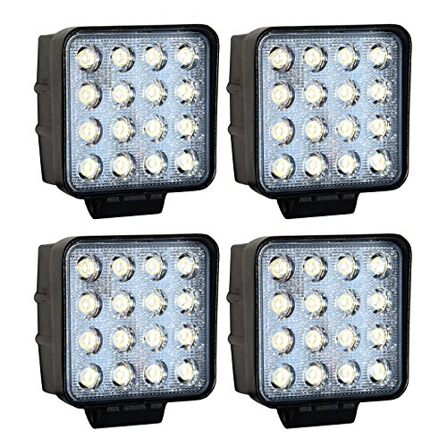 Greenmigo 4X 48W 16 LEDs Offroad Lampe LED Arbeitsscheinwerfer Flutlicht Reflektor Arbeitslicht Zusatzscheinwerfer für SUV, UTV, ATV Rückfahrstrahler 12V 24V