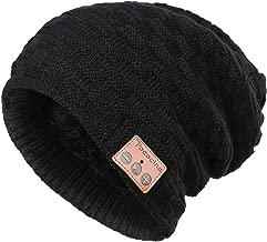 Bluetooth Beanie Hat Winter Knit Music Hat Wireless Headphone Speaker Hat Double Layer Slouchy Skull Cap for Men Women, 28 Black