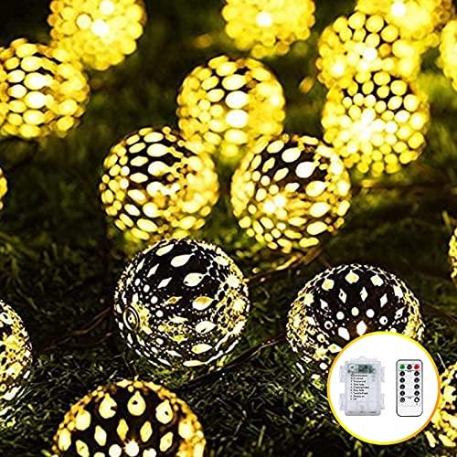 Marokkanische Lichterkette,7m 50 Led Batteriebetrieben, Einstellbare 8 Modi, Wasserdicht Lichterkette, Zur Dekoration Von Weihnachtsgärten Im...