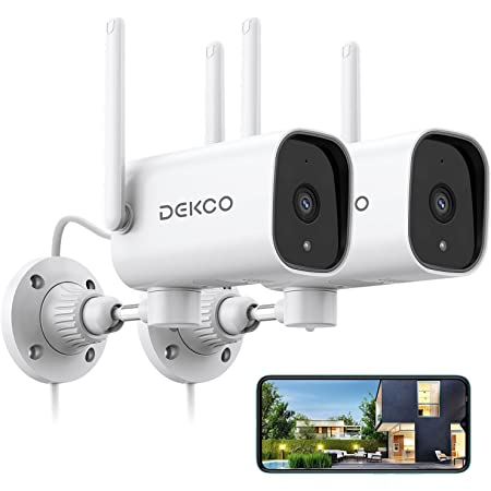 Outdoor Security Camera - DEKCO 1080p Pan Rotating 180° WiFi Cameras for Home Security with Two-Way Audio, Night Vision, 2.4GWiFi, IP65, Motion Detection Alarm (2 Pack)