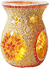 Fenteer Mosaic Glass Candle Holders Tea Light Candle Holder Fragrance Essential Oil Diffuser for Table,Wedding Decor - Orange
