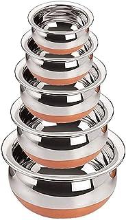 Vishal Enterprise presenting Kitchen Appliances Stainless Steel Copper Bottom Cooking Serving Biryani, Punjabi Pot Pan Com...